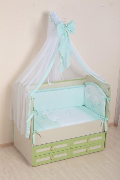Комплект в кроватку (7 предметов) №50 салатовый