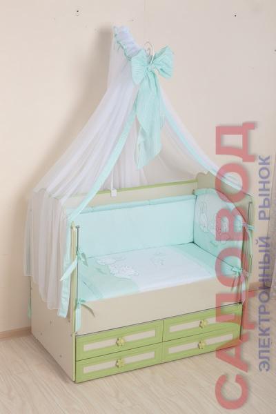 Комплект в кроватку (7 предметов) №50 салатовый Детское постельное белье на рынке Садовод