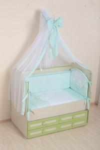 Фото Постельное белье Комплект в кроватку (7 предметов) №50 салатовый