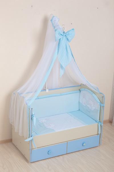 Комплект в кроватку (7 предметов) №50 голубой