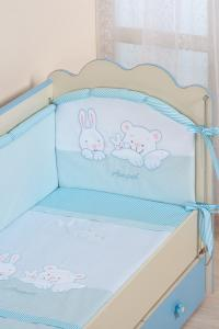 Фото Постельное белье Комплект в кроватку (7 предметов) №50 голубой