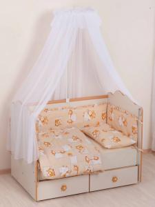 Фото Постельное белье Комплект в кроватку      (7 предметов) №25 бежевый