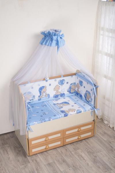 Комплект в кроватку (7 предметов) №59.2 голубой