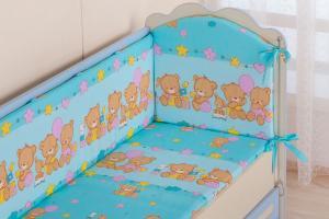 Фото Постельное белье Комплект в кроватку (7 предметов) №59.2 голубой