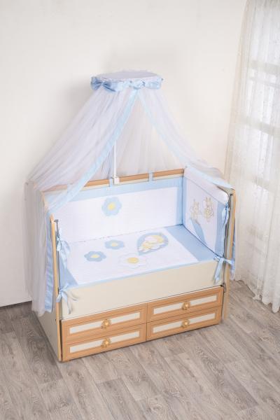 Комплект в кроватку (7 предметов) №62 голубой