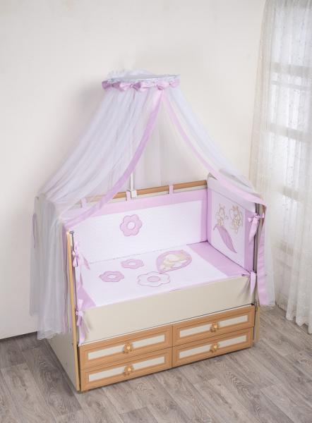 Комплект в кроватку (7 предметов) №62 сиреневый