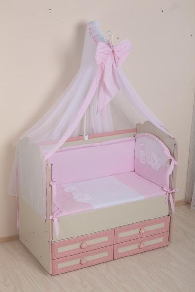 Комплект в кроватку (7 предметов) №50 розовый