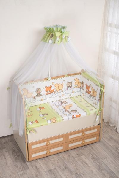 Комплект в кроватку (7 предметов) №59.2 салатовый