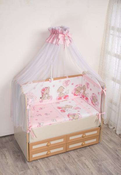 Комплект в кроватку (7 предметов) №59.2 розовый