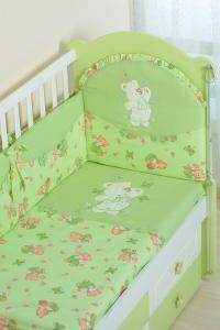 Фото Постельное белье Комплект в кроватку (7 предметов) №25.4 салатовый