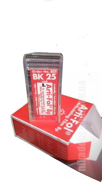 Фото Для зуботехнических лабораторий, АКСЕССУАРЫ, Артикуляционная бумага и окклюзионные спреи ВК25  Артикуляционная фольга, двухсторонняя, красная (Bausch)