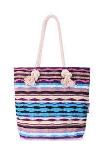 Фото ТЕКСТИЛЬНЫЕ СУМКИ Пляжная вельветовая сумка в полоску POOLPARTY