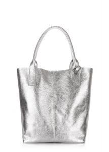 Фото  Серебристая кожаная сумка POOLPARTY Podium