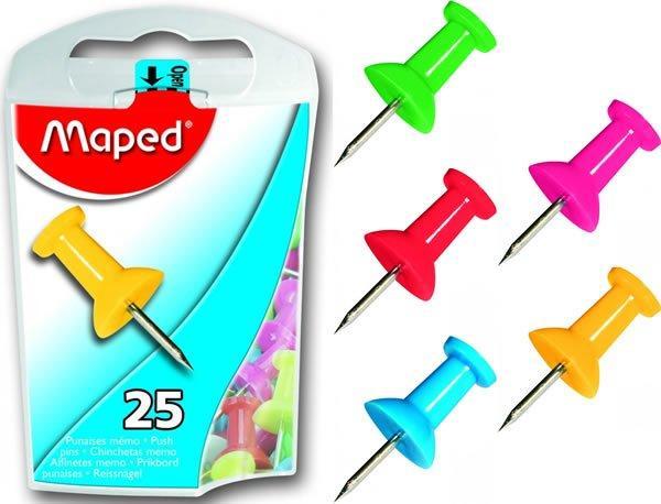 """Цветные иглы-кнопки """"Пешки"""", 25 шт/уп. Maped"""