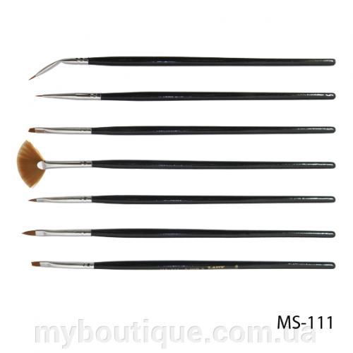 Набор кистей для дизайна и рисования на ногтях (7 шт) MS-111