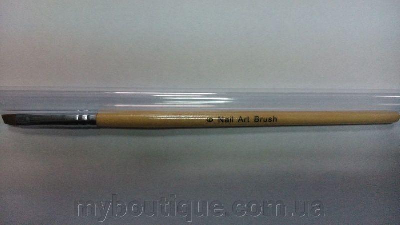 Кисть для геля №6 с деревянной ручкой скошенная Nail Art Brush