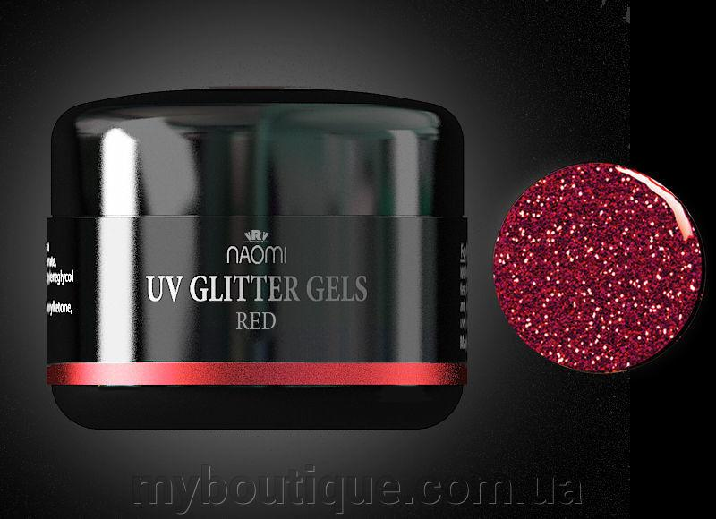 Гель UV Glitter Gel Red, 14 гр Naomi
