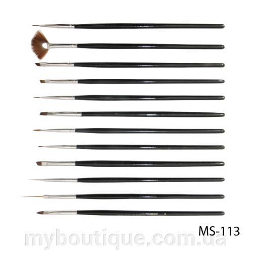 Набор кистей для дизайна и рисования на ногтях (12 шт) MS-113