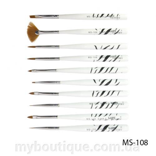 Набор кистей для дизайна и рисования на ногтях (10 шт) MS-108