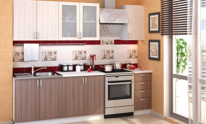 Фото Кухни модульные Кухня Дина ЛДСП ясень шимо темный/ясень шимо светлый (Стендмебель)