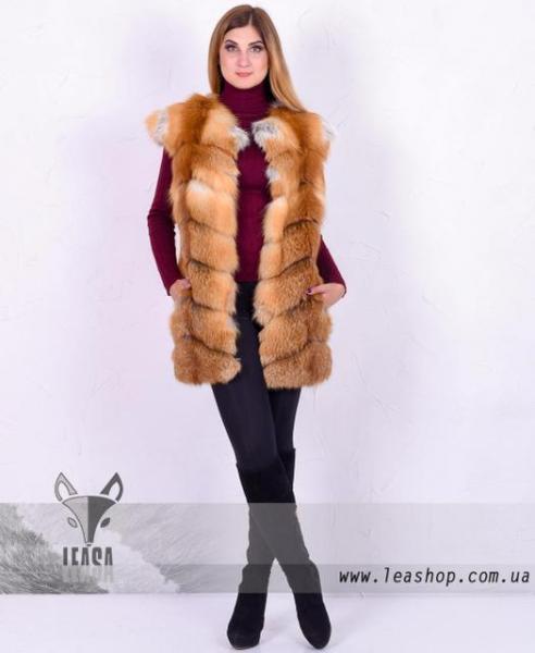 Женская жилетка из натуральной лисы