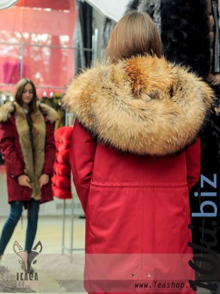 Красная парка с лисой натуральная Куртки женские в ТЦ «Шок» (Харьков)
