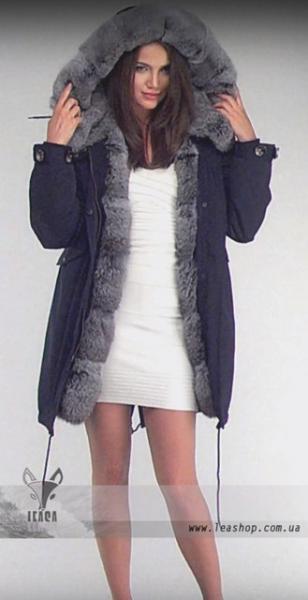 Куртка парка женская зимняя с мехом кролика натуральная
