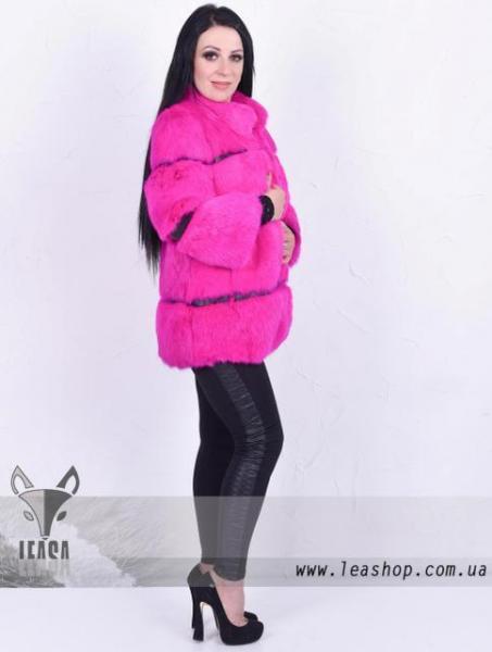 Розовый полушубок из кролика натуральный