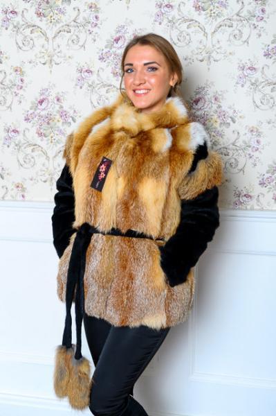 Манто из натуральной украинской лисы натуральный мех
