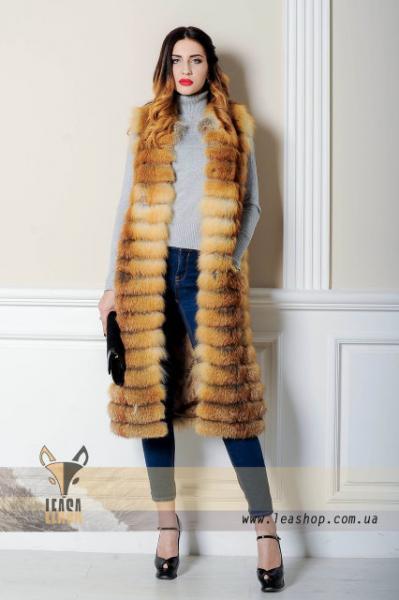 Длинная меховая жилетка из натуральной лисы