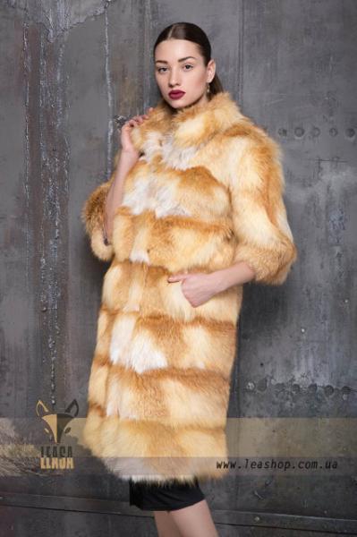 Длинная шуба из натурального меха Украинской обесцвеченной лисы