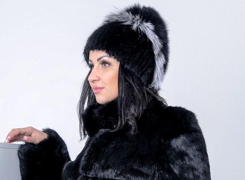 Женская шапка из натурального песца и чернобурки