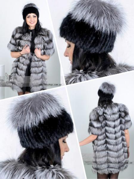 Меховая шапка-парик из натуральной Норвежской чернобурки