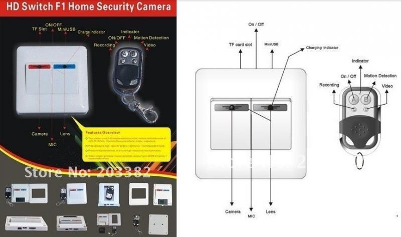 Выключатель со скрытой видеокамерой и дистанционным управлением