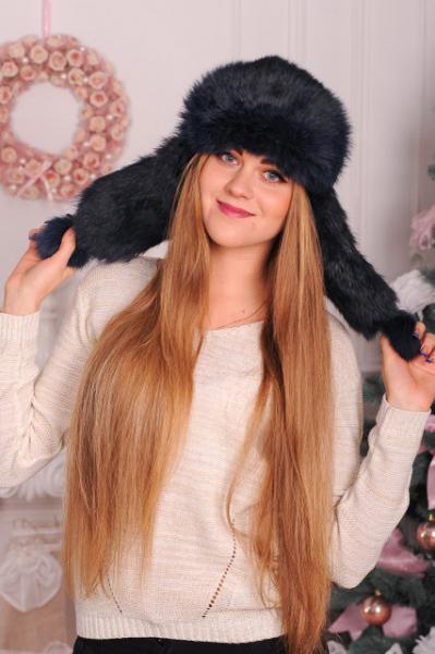 Женский головной убор из яркого натурального кроличьего меха