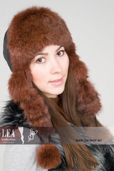 Женская шапка-ушанка из плащевки на натуральном кролике