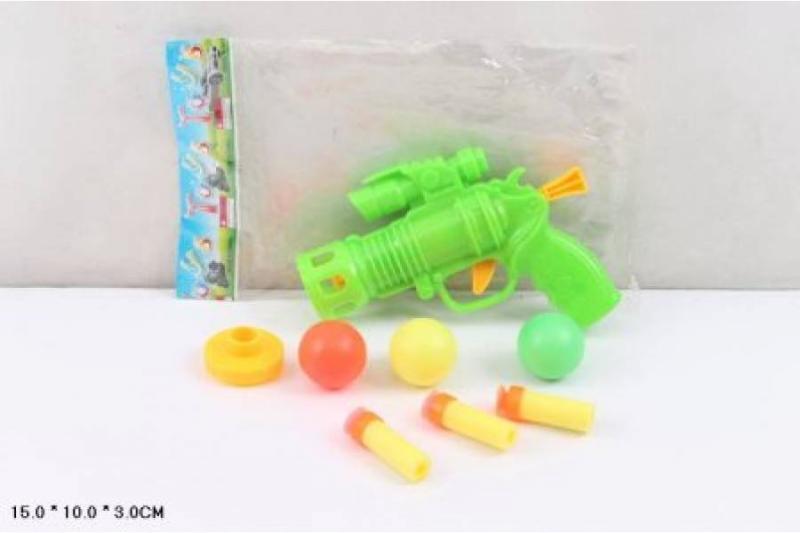 Пистолет с шариками и присосками в пакете