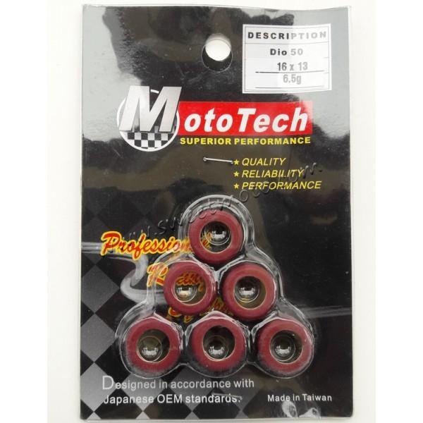 Ролики вариатора Honda Dio/GY6 50/80cc 16x13 6.5г Mototech