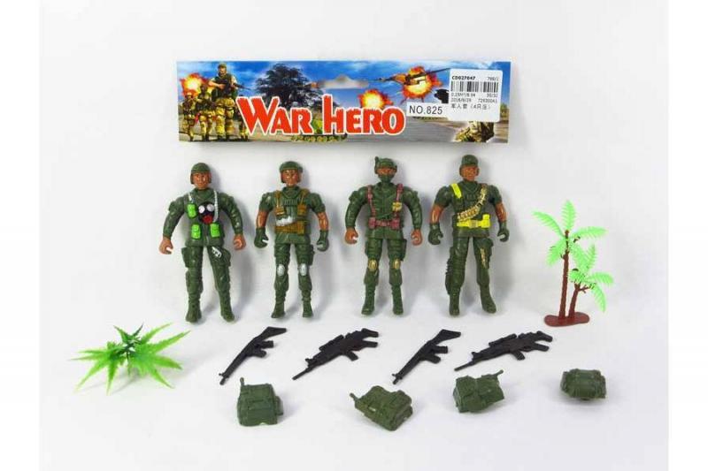 Военный набор - солдатики 4 шт. в пакете