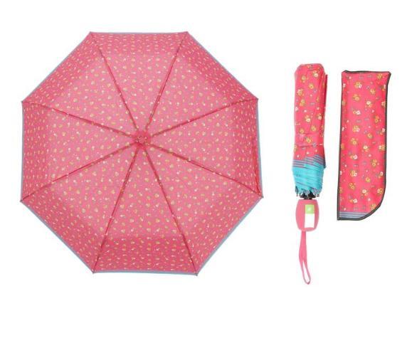 Зонт полуавтомат, R=55см, цвет розовый