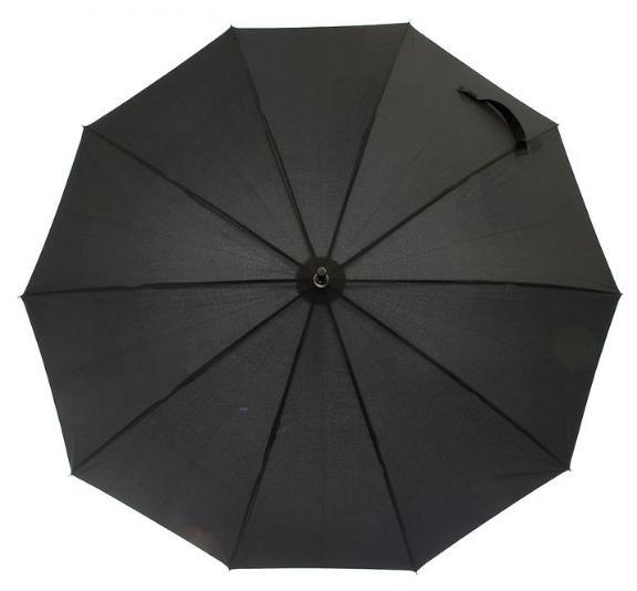 Зонт-трость полуавтомат, R=53см, цвет чёрный