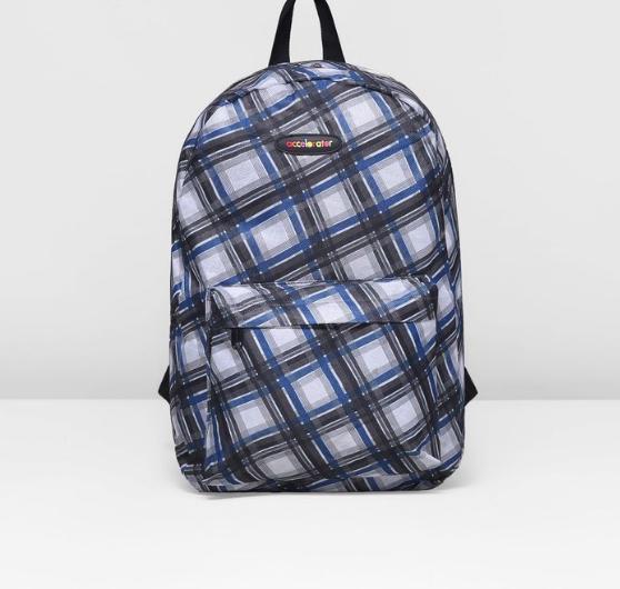 Рюкзак мол Ромбы 30*18*42 отдел на молнии нар карман серо синий