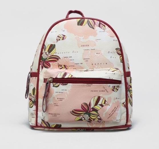 Рюкзак мол L-б/н, Цветы, 21*13*22, отд на молнии, н/карман, розовый