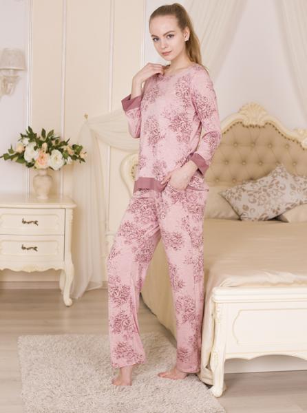 Удобная пижама из вискозы Rose garden