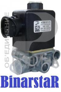 Фото 37. Электрооборудование КЭМ 07-15 клапан электромагнитный (КЭБ-420, АДЮИ 453644 005 01, ЭМПК ) блокировки колёс, запора заднего борта байонетный разъем