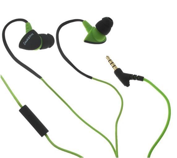 Наушники Luazon Sport LH-502, вакуумные, с микрофоном, крепление за ухо, зелёно-чёрные