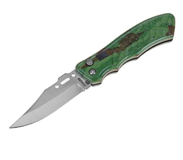 Нож складной автоматический сувенирный, рукоять хаки (с кнопкой и фиксатором)