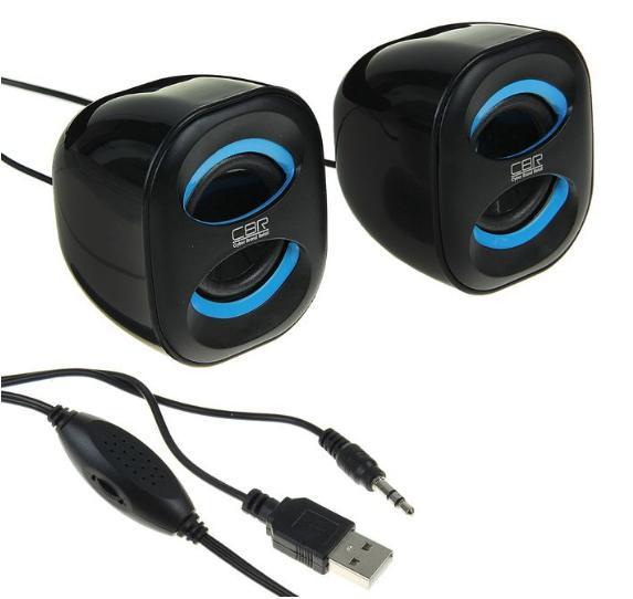 Акустическая система 2.0 CBR CMS 333 Black-Blue, 3 Вт, 2 колонки, USB, черно-голубая