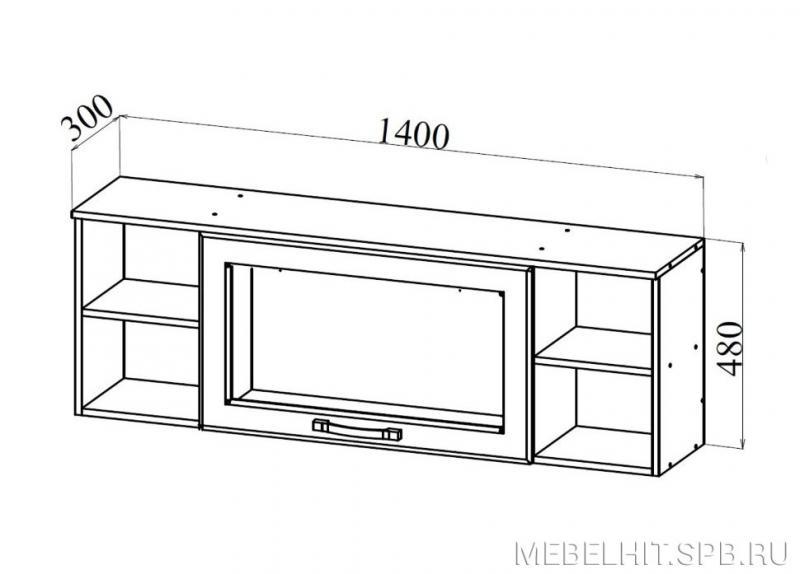 Фото Полки, стеллажи  Ницца шкаф навесной АВ1400.1 (ДСВ мебель)