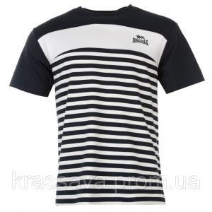 Фото Мужская футболка, майка, поло Футболка мужская очень плотная Lonsdale, оригинал, темно-синяя-белая, XL